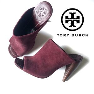 Tory Burch Ellis Suede Leather Mule Heels Size 7.5
